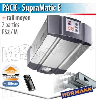 Pack motorisation portes de garage Hörmann - SupraMatic E + Rail moyen FS 2 M - 2 parties