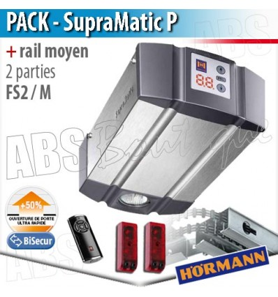 Pack motorisation portes de garage Hörmann - SupraMatic P + Rail moyen FS 2 M - 2 parties