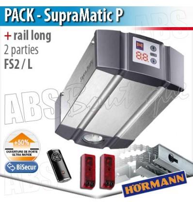 Pack motorisation portes de garage Hörmann - SupraMatic P + Rail long FS 2 L - 2 parties
