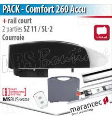 Moteur Marantec - Comfort 260 Accu + rail SZ 11 SL - courroie - 2 parties