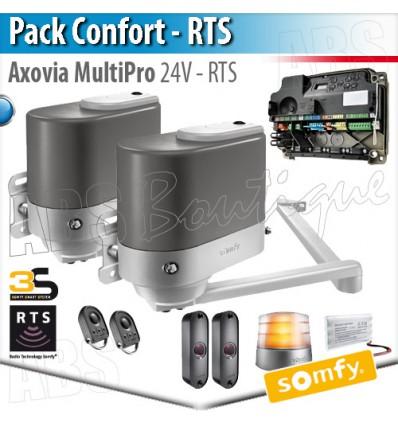 Motorisation portail battant Somfy - AXOVIA MULTIPRO + Armoire de commande - Pack Confort RTS